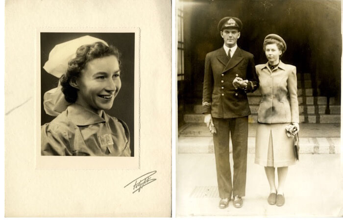 Left: Melody Jackson c. 1942. Right: John and Melody on their wedding day, 1943