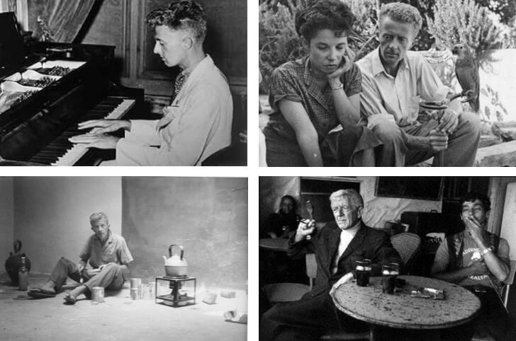 Clockwise from top left, Bowles at the piano; with Jane Bowles in the 1960s; with Mohamed Mrabet in the 1980s; in Morocco in the 1960s, photographed by Allen Ginsberg.