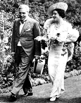 Queen Mary, the Queen Mother, with Sigismund Goetze at a garden party at his home, Grove House, London c.1920. Photograph by Olivia Housing