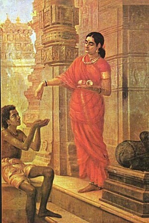 """Lady Giving Alms at the Temple"" by Rja Ravi Jama"