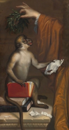 Lord Rochester's monkey. Detail of the portrait of Lord Rochester by Jacob Huysmans