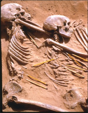 Prehistoric burial site in Sudan. Pencils point to spear-heads, the probable cause of death.