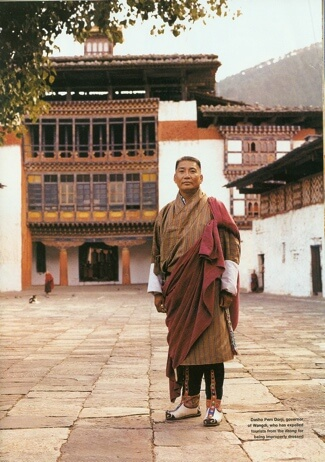 Dasho Pem Dorji at Wangduephodrang Dzong. Photograph by Ken Griffiths