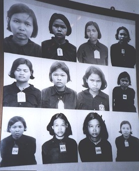 Victims of the Khmer Rouge photographed before their deaths at Tuol Sleng interrogation centre in Phnom Penh