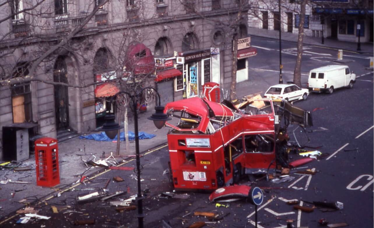 An explosion in the Strand