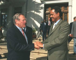 US Secretary of Defence Donald Rumsfeld with Eritrean President Isaias Afewerki