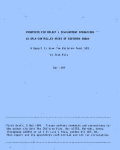 Prospects for relief and development operations in SPLA-controlled areas of Southern Sudan, May 1989